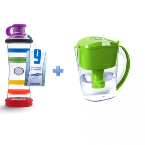 Sada i9 informovaná fľaša + filtračná kanvica s alkalickým filtrom